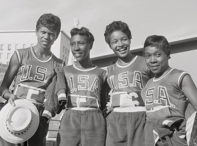 Wilma Rudolph, Lucinda Williams, Barbara Jones, and Martha Hudson at the Rome Olympics