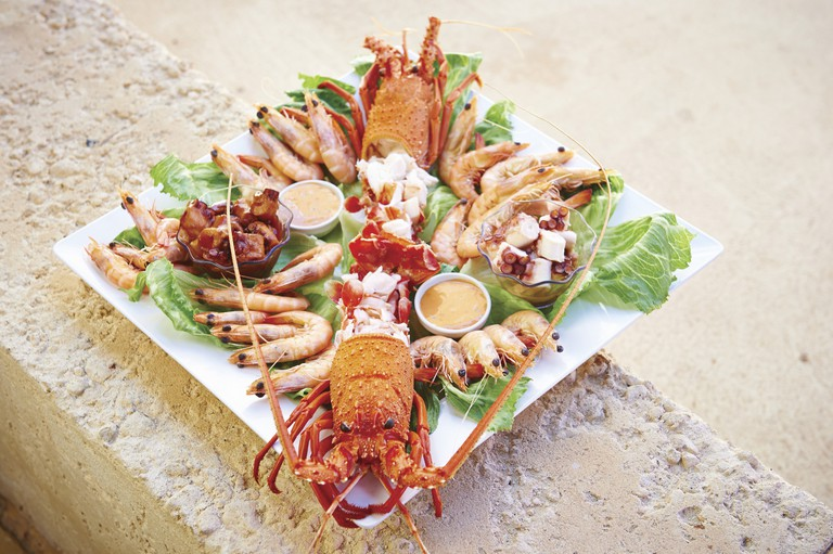 A platter of fresh seafood at Lobster Shack near Cervantes