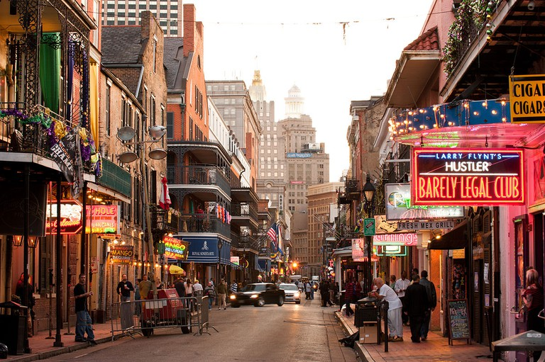 Looking up Bourbon Street toward the Central Business District (CBD)