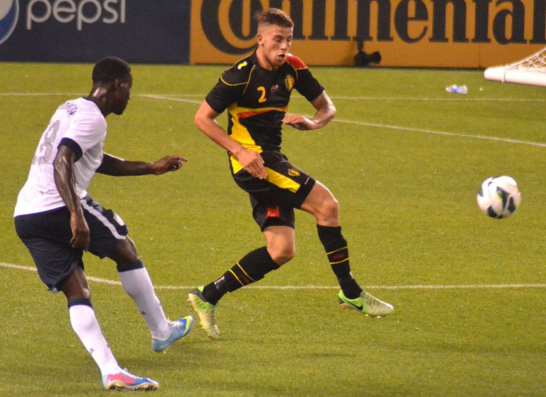 Toby Alderweireld playing in Belgian's yellow kit
