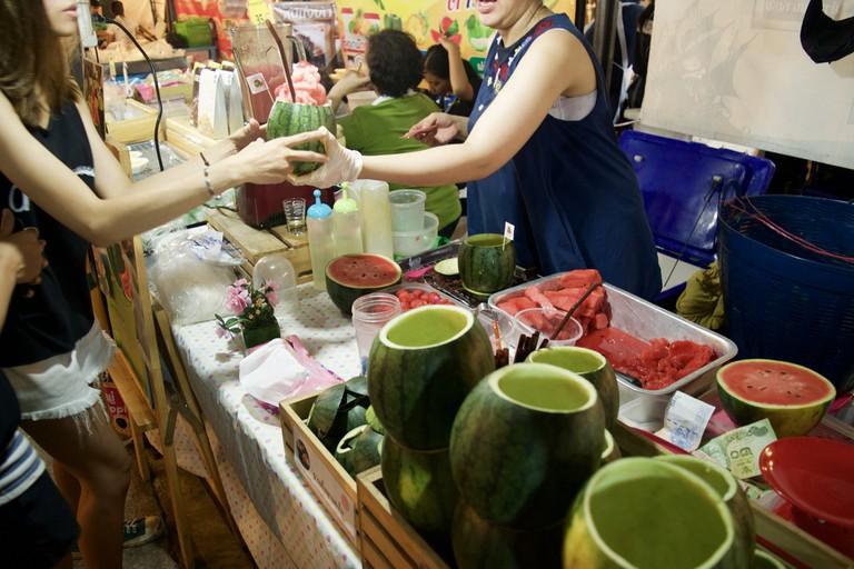 Watermelon smoothies at Rod Fai Market
