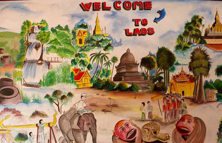 Welcome To Laos Sign In Vientiane