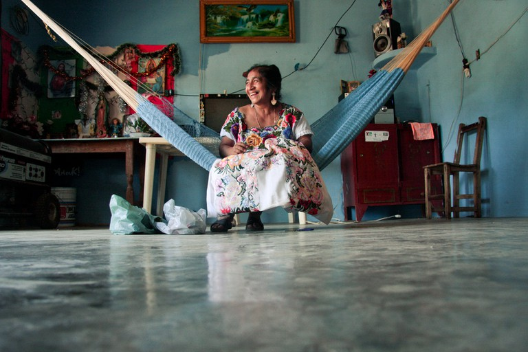 Huipil wearing woman in Yucatán, Mexico