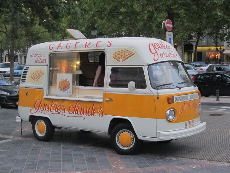 These yellow waffle trucks pop up all over the city to tempt you with the smell of piping hot Brussels waffles