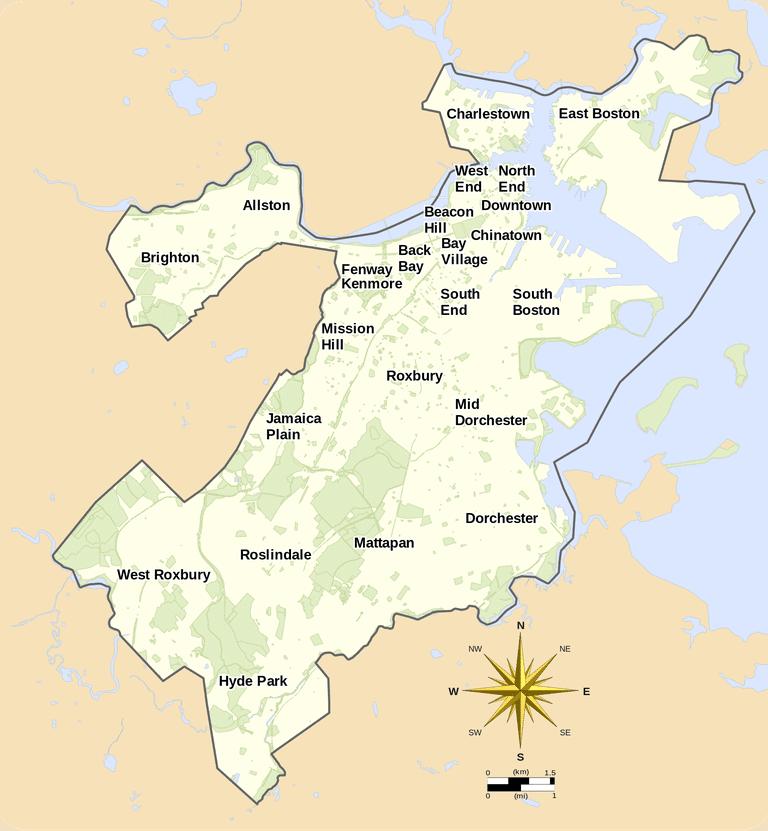 Map of Boston neighborhoods