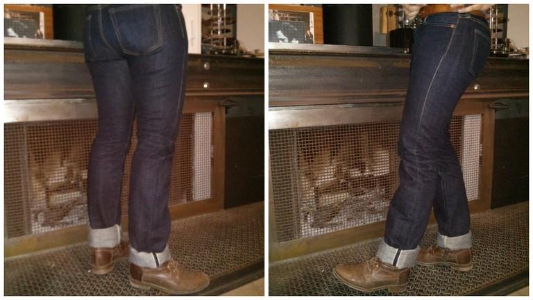 A woman wear a pair of The Flat Head denim jeans   © Steenair/Flickr