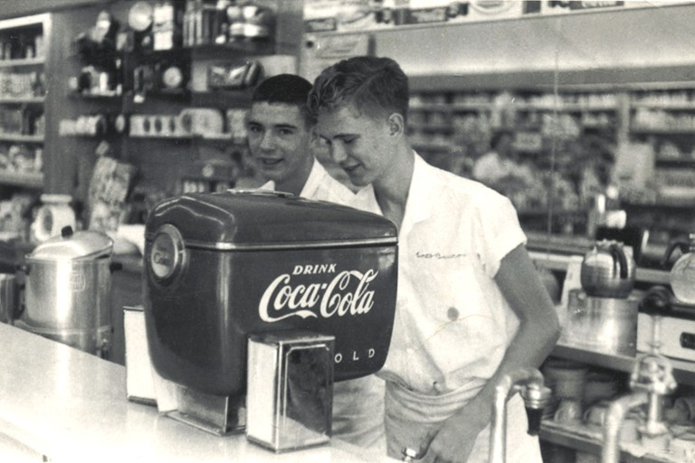 This is claimed to be the first-ever installation of the 1948 model, 'boat motor' styled Coca-Cola soda dispenser, shown in Fleeman's Pharmacy, Atlanta, Georgia