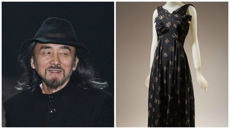 Yohji Yamamoto in 2010, left | © Masaki-H/WikiCommons | A silk dress from the Y's line | © Museum at FIT/Flickr
