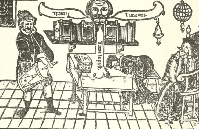 "A woodblock engraving of Miles playing the tambour while friars Bacon and Bungay sleep and the Brazen Head speaks ""Time Is. Time Was. Time Is Past."" From the 1630 edition of Robert Greene's The Honorable Historie of Frier Bacon, and Frier Bongay. 
