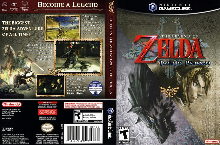 The Legend of Zelda: Twilight Princess cover art and back for the Gamecube version | © Nintendo, scanned by This is Ozone