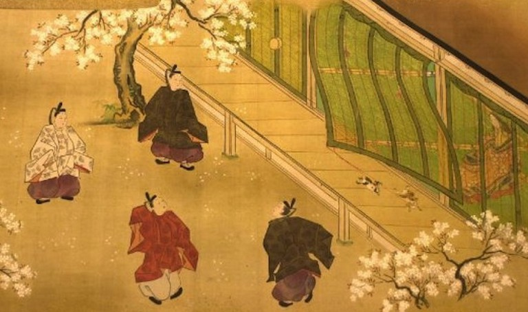 A scene from The Tale of Genji. A woman watches the men play in the garden from behind a screen | by Kano Ryusetsu Hidenobu, lifted from WikiCommons