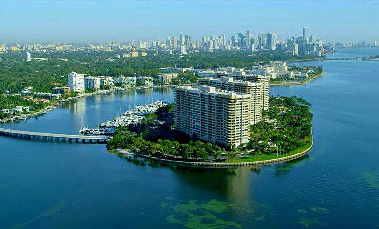 Grove Isle in Biscayne Bay, Miami. The Location of Palmieras Beach Club
