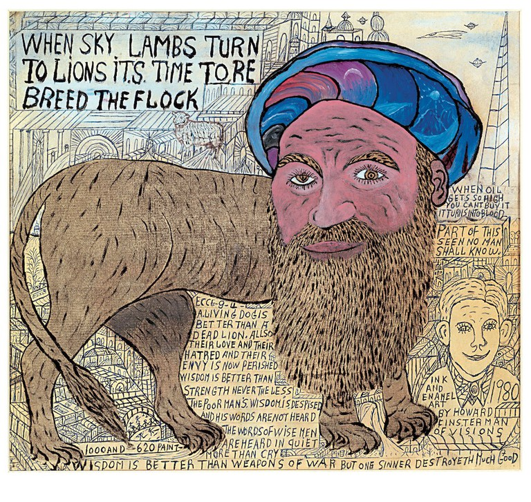 Howard Finster, Untitled (When Sky Lambs Turn Into Lions Its Time to Breed The Flock), 1980. Courtesy of The Gallery of Everything
