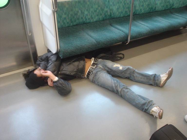 An extreme case of inemuri on the train