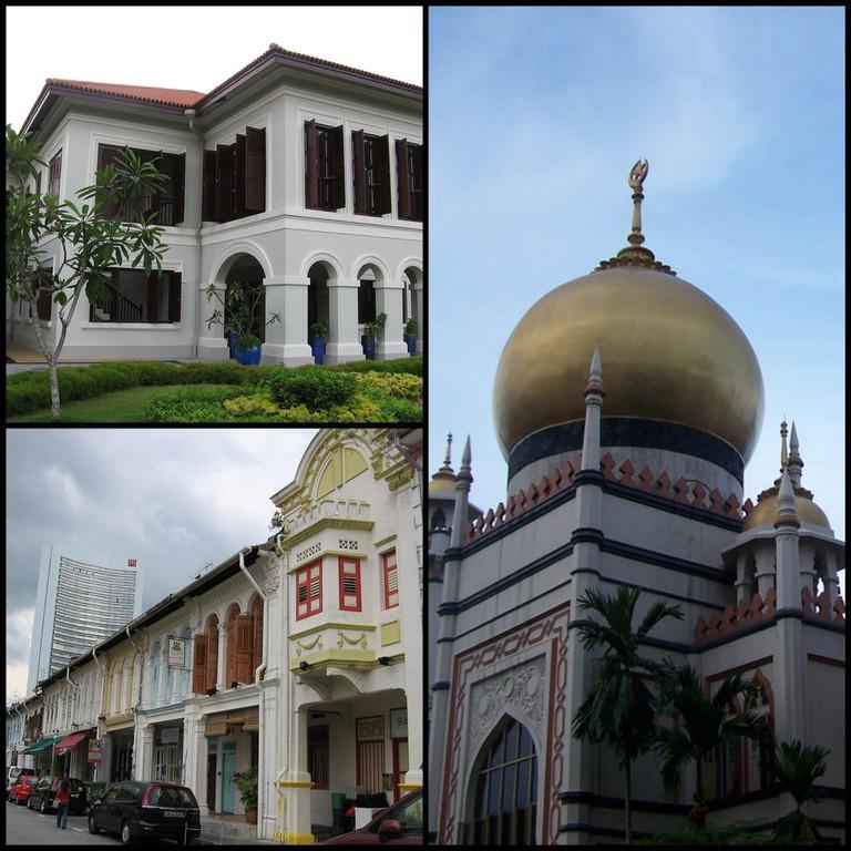 Istana Kampong Glam, a former Malay palace © Sengkang/Wikicommons | Restored shophouses on Kandahar Street © Sengkang/Wikicommons | Sultan Mosque © Jnzl/Flickr