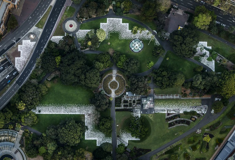 Jonathan Jones' ceramic shields on site outlining where the Garden Palace once stood at the Royal Botanic Garden, Sydney. | Courtesy of Kaldor Public Art Projects