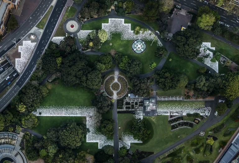 Jonathan Jones' ceramic shields on site outlining where the Garden Palace once stood at the Royal Botanic Garden, Sydney.