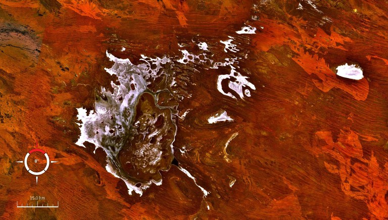 Lake Disappointment, Western Australia; Landsat image screen capture from NASA's World Wind program | © Zamphuor / WikiCommons