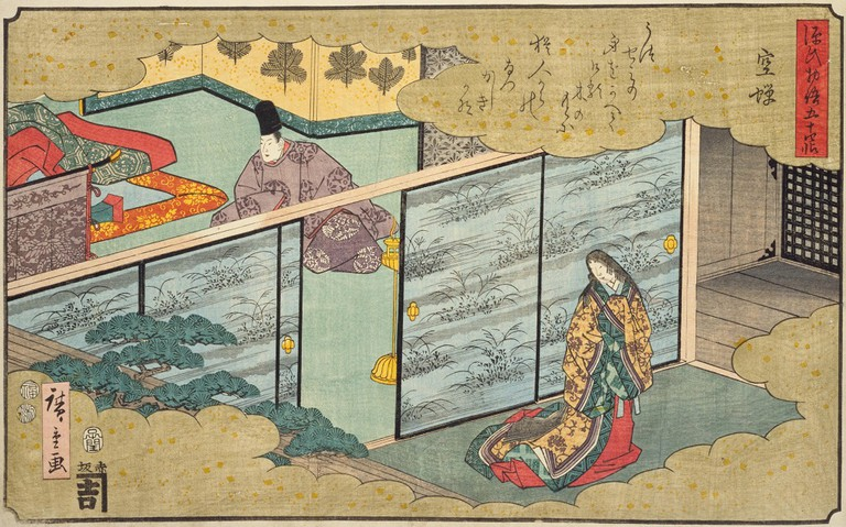 A woodblock print from 1852 featuring a scene from The Tale of Genji |from Japan's National Diet Library, lifted from WikiCommons