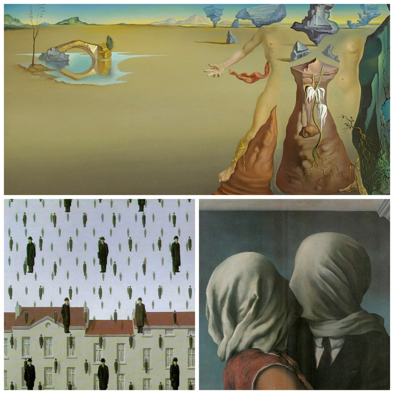 [ D ] Salvador Dali - Oasis (1946) | © cea +/Flickr / Golconda - René Magritte 1953 | © Ian Burt/Flickr / [ M ] René Magritte - Les amants (The lovers) (1928) | © cea +/Flickr