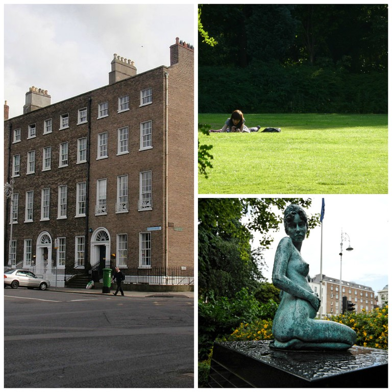 Merrion Square's redbrick buildings | © Nelro2/WikiCommons / Girl relaxing | © Fred von Lohmann/Flickr / Sculpture of Oscar Wilde's wife in Merrion Square | © William Murphy/Flickr