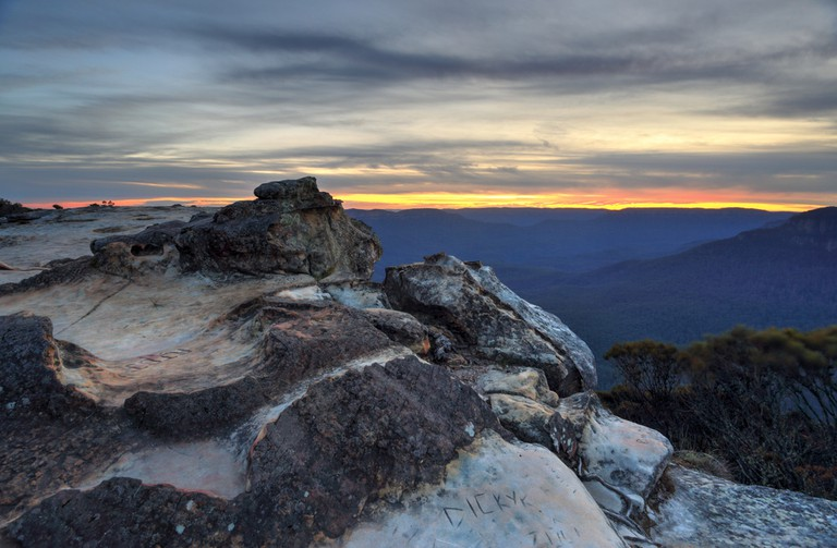 Sunset views from Wentworth Falls, Blue Mountains Australia