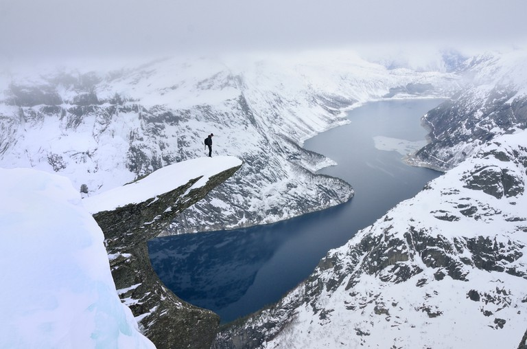 Trolltunga in winter, Norway