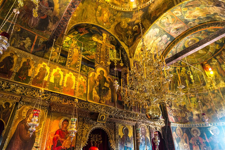 Interior of monastery in a summer day in Meteora, Greece
