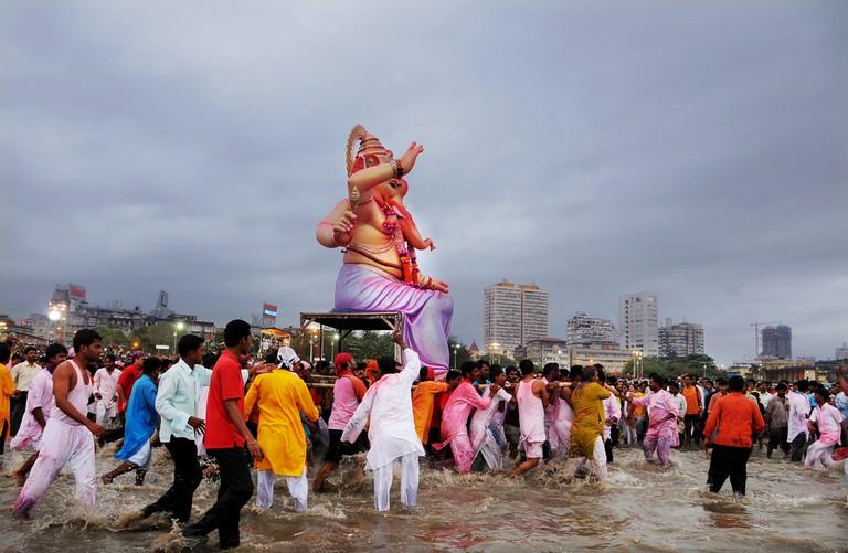Ganesha being immersed