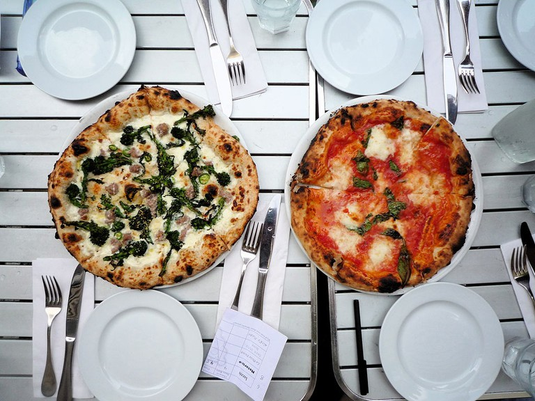 Spicy pugliese and margherita pizzas – NYC Pizza Expedition
