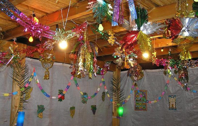 A decorated sukkah