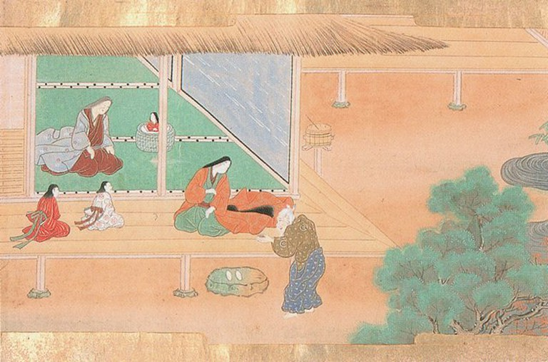 The bamboo cutter brings the baby Kaguya back to his home | © Tosa Hiromichi (1600)/WikiCommons
