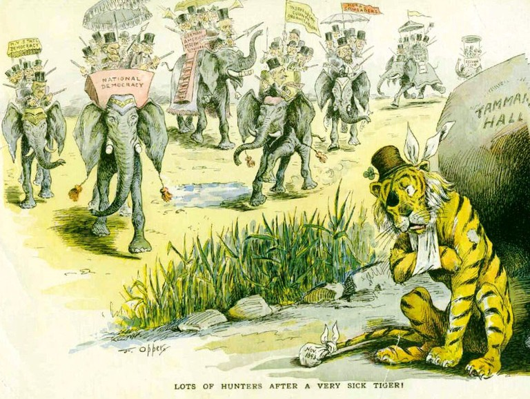 1893 US cartoon referencing Tammany Hall, caricatured as a tiger