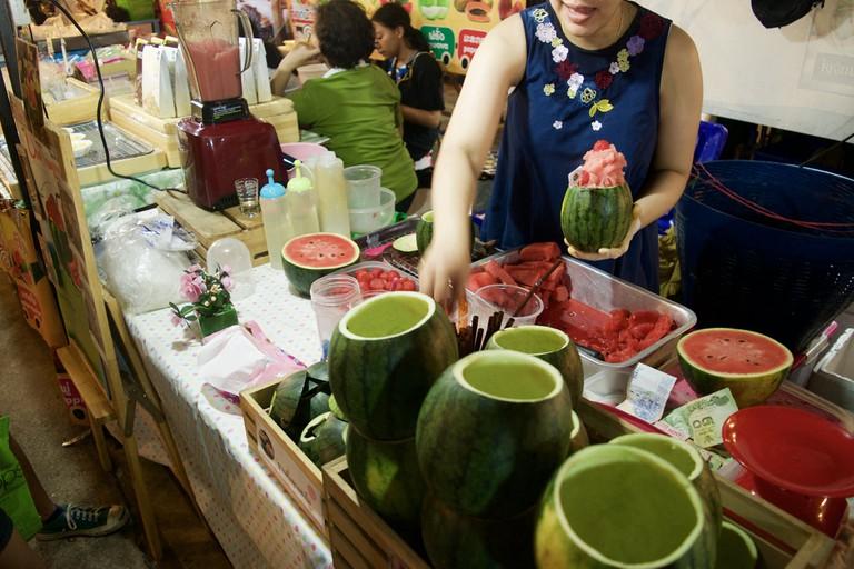 Watermelon smoothies at Talad Rod Fai