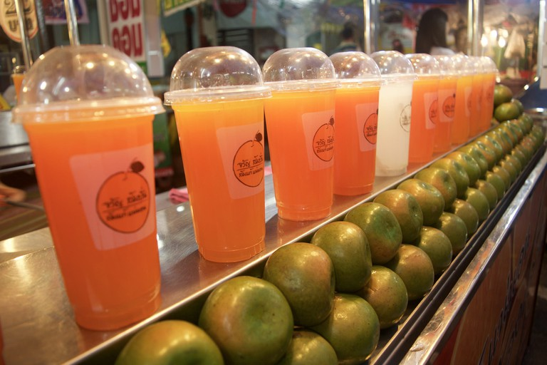 Fresh orange juice at a market in Phuket