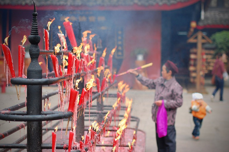 Candles lit during Buddhist ceremonies