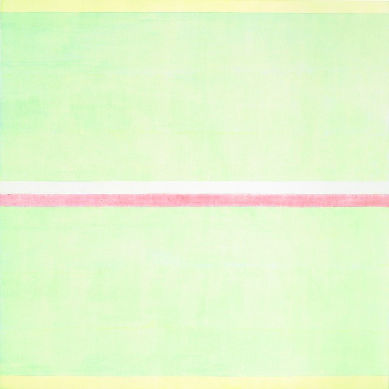 Agnes Martin Gratitude, 2001 Acrylic and graphite on canvas 60 x 60 inches (152.4 x 152.4 cm) Glimcher Family Collection © 2016 Agnes Martin/Artists Rights Society (ARS), New York