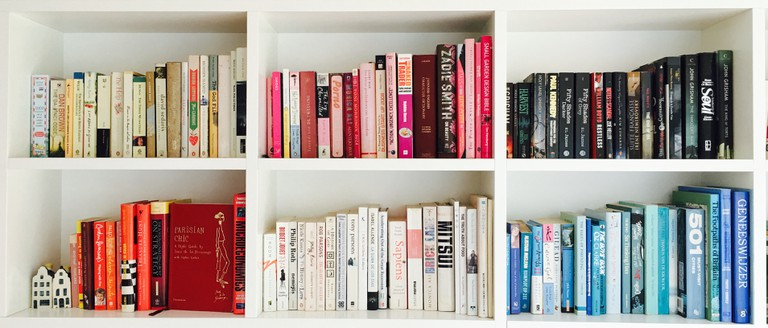 Books arranged by colour