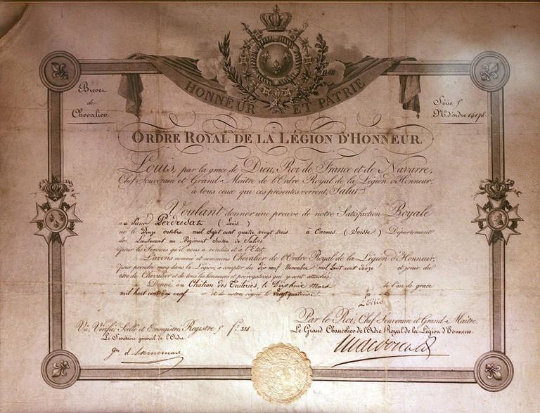 Certificate of the Légion d'Honneur │