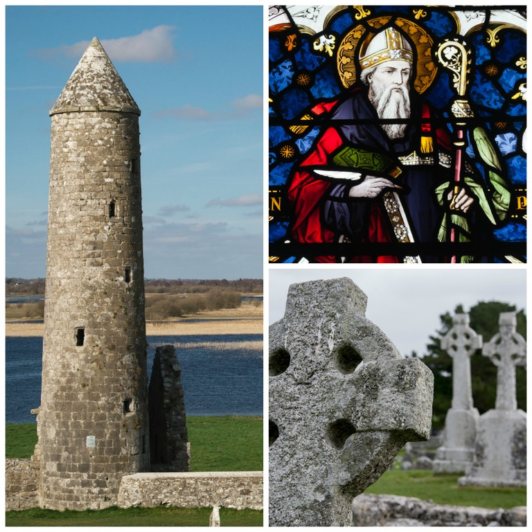 McCarthy's Tower, Clonmacnoise | © Rob Hurson/Flickr / Stained glass window depicting Saint Ciarán of Clonmacnoise | © Andreas F. Borchert/WIkiCommons / High cross | © Pixabay