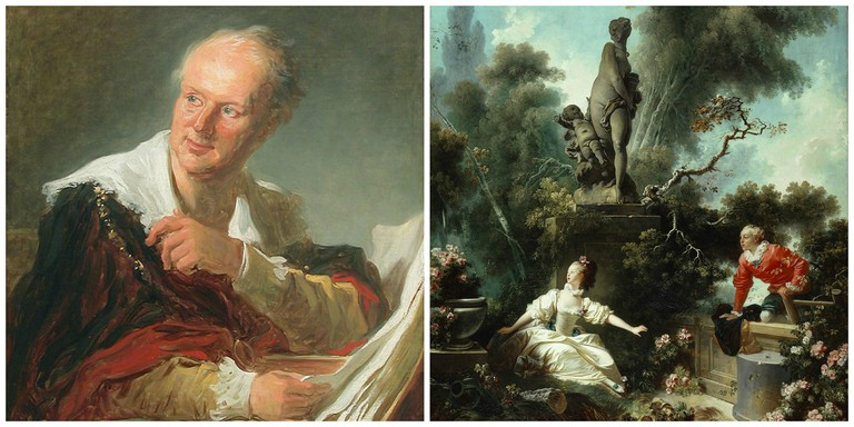 Denis Diderot (circa 1769) by Jean-Honoré Fragonard (1732–1806) │© Louvre ; The Progress of Love The Meeting (19771–1772) by Jean-Honoré Fragonard (1732–1806) │© The Frick Collection