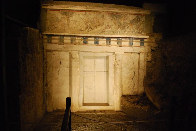 Facade of Philip II tomb-Vergina, Greece