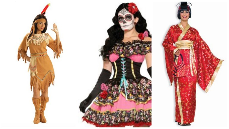 From L- R: Cowboys And Indians (Or Any Indian Costume), Sugar Skull Face Paint, Geisha