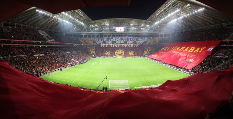 Galatasaray fans before a match against Fenerbahçe