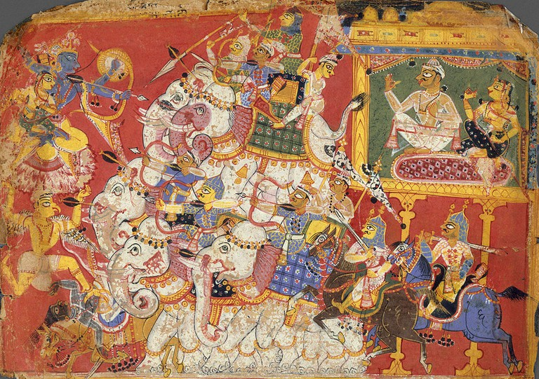 Historic depiction of Krishna defeating Narakasura|©The Metropolitan Museum of Art/WikiCommons
