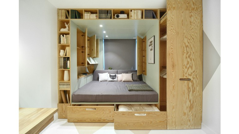 This clever bed box by INT2 Architecture saves space in this tight Moscow flat