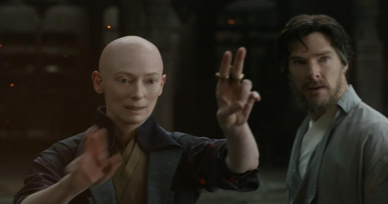 The Ancient One (Tilda Swinton) and Doctor Stephen Strange (Benedict Cumberbatch)
