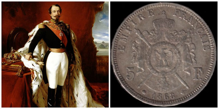 Napoleon III by Franz Xaver Winterhalter │WikiCommons and A Five-Franc coin │WikiCommons