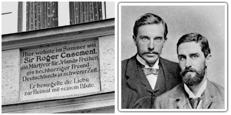 Plaque commemorating Casement's stay in Bavaria during 1915   © Osioni/WikiCommons / Casement with his friend, the sculptor Herbert Ward   © Herbert Ward/WikiCommons