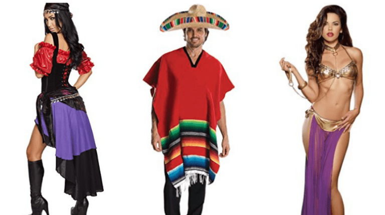 From L – R: Sexy Gypsy, Mexican With Poncho And Hat, Harem Girl